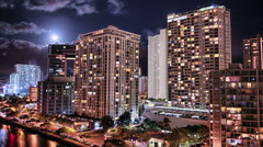 HDR Panning Time Lapse Honolulu Cityscape Stock Footage