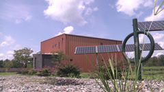 Exterior winery with solar panels low angle Stock Footage