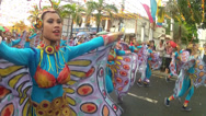 Stock Video Footage of jumping spreading wings of butterfly costumed street dancer