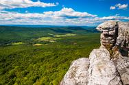 Stock Photo of view of the appalachian mountains from cliffs on big schloss, in george washi