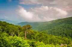 View of the appalachian mountains on a foggy day in shenandoah national park, Stock Photos