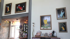 Interior winery building with artworks Stock Footage