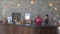 Interior winery tasting bar and staff Stock Footage