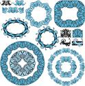 Stock Illustration of set of round and oval frames and vintage design elements