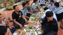 Asian people eat traditional party Stock Footage