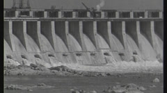 Wide shot of hydroelectric station. circa 1946 Stock Footage
