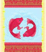 Japanese koi fish or chinese carp card Stock Illustration