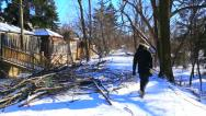 Stock Video Footage of Man walks past fallen tree damage from winter ice storm