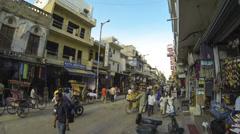 New Delhi Pahar Ganj main street time lapse Stock Footage