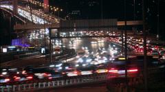 Time lapse Istanbul night traffic on Bosporus Bridge Stock Footage