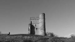 Castle on top of hill (B & W dolly) Stock Footage