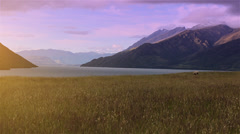 Twilight view of grassy field overlooking snow capped mountains of New Zealand. Stock Footage