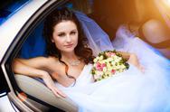 Stock Photo of beauty in the wedding car