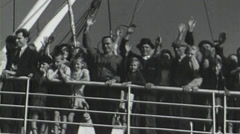 Steamship passengers waving their hands. circa 1946 Stock Footage