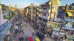 New Delhi Pahar Ganj main street high angle time lapse Stock Footage