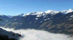 Gondola lift at ski resort, Zillertal, Austria HD Stock Footage