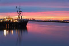 Morning Dock, Steveston, British Columbia - stock photo