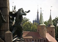 poland krakow, monument commemorating the battle of grunwald, 15 july 1410 - stock photo