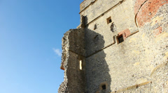 Side of Donnington Castle ruins (dolly) Stock Footage