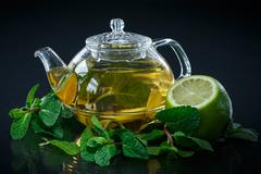 tea with lemon and mint - stock photo
