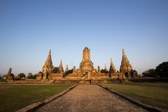 chaiwatthanaram temple in ayutthaya in thailand - stock photo