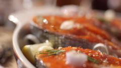 Kuril red fish - chum Stock Footage