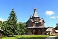 Old russian wooden church Stock Photos