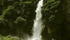 Large waterfall in Ecuadorian Andes near city of Banos - stock footage