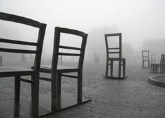 Poland, krakow, podgorze district, memorial to the heroes of the krakow ghetto Stock Photos