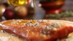 Chum salmon fillet Kamchatka Stock Footage