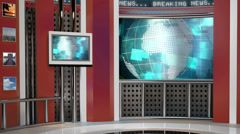 Virtual News Studio Green Screen Background Stock Footage