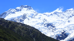 Epic pan across snow covered mountains, Mt Cook, New Zealand. Stock Footage