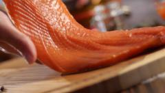 Stock footage chum salmon fillet Kamchatka Stock Footage