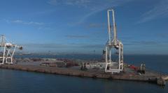 Wide of Port Elizabeth harbor entrance and city Stock Footage