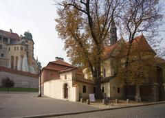 Poland, krakow, wawel, hen's claw wing and comples giles church Stock Photos