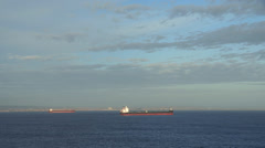 Ships waiting in the bay Stock Footage