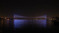 Time lapse Bosporus Bridge at night Stock Footage