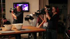 Professional shooting tv cooking show. TV cameramen. Stock Footage