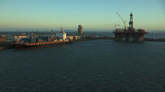 Wide pan of Cape Town Harbour Stock Footage