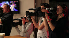 Professional shooting. TV cameramen. Stock Footage