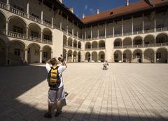 poland krakow, wawel royal castle, courtyard - stock photo