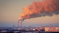 Smoke from pipe of thermal power station in winter sunset. Moscow. Russia. Timel - stock footage