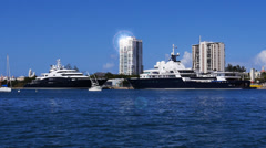 Mega yacht super yacht luxury ship Le Grand Bleu and Serene on dock Stock Footage
