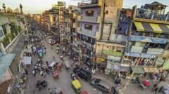 New Delhi Pahar Ganj area high angle time lapse Stock Footage