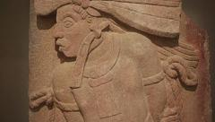 Mayan warrior carved in stone - stock footage