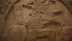 Mayan candelar carved in stone - stock footage