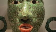 Mayan mask made of jade Stock Footage