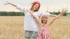 Happy Children Girls in Wheat Field, Welcome to Ukraine HD Stock Footage