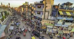 New Delhi Pahar Ganj area high angle sunset 4k Stock Footage