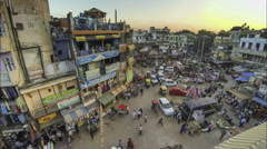 New Delhi Pahar Ganj area roof top view time lapse Stock Footage